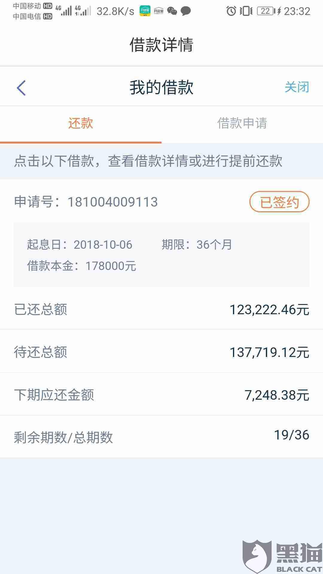 黑猫投诉:在平安普惠贷款178***元 36期 最后要还260***元