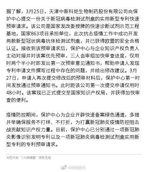 滨海新区首件新冠病毒检测试剂盒专利预审通过