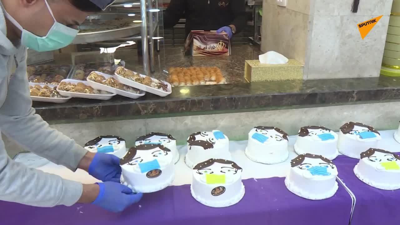 巴勒斯坦加沙地带一个面包坊做出了一个翻糖蛋糕