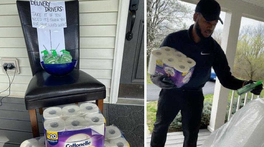 美国一男子在门口放卫生纸和洗手液供快递员免费取用