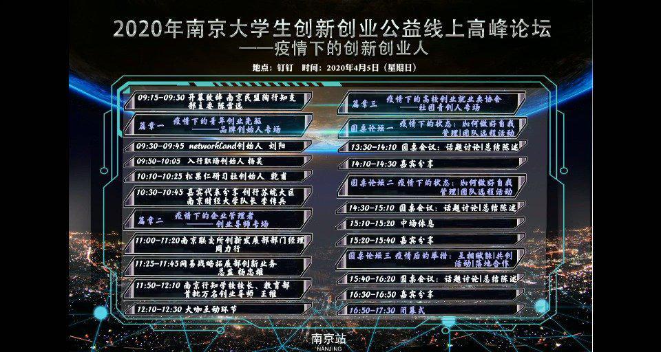 疫情特别行动:2020南京青年大学生创新创业公益线上高峰论坛微刊