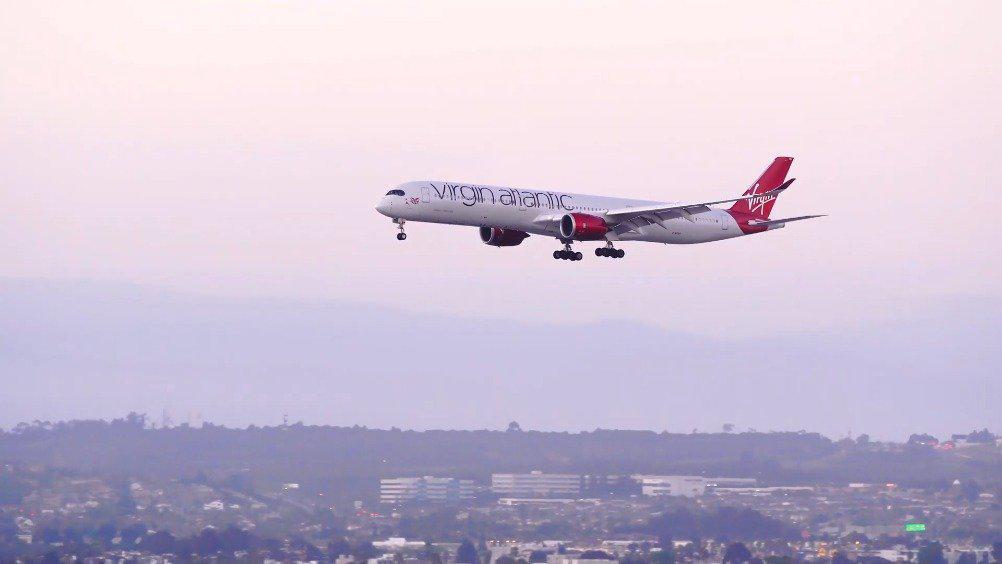 维珍航空首架A350降落洛杉矶国际机场