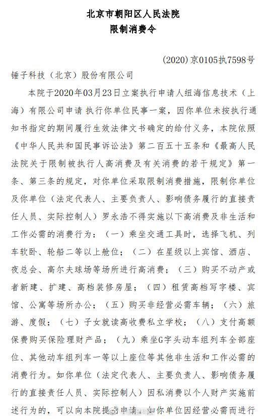 锤子科技及罗永浩收到限制消费令 违反将予以罚款拘留