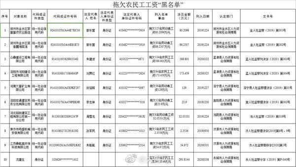 """河南9家企业和1名个人被列入拖欠农民工工资""""黑名单"""""""