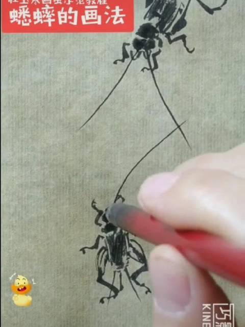 画一对热恋中的 蟋蟀 水墨写意示范教程《蟋蟀》