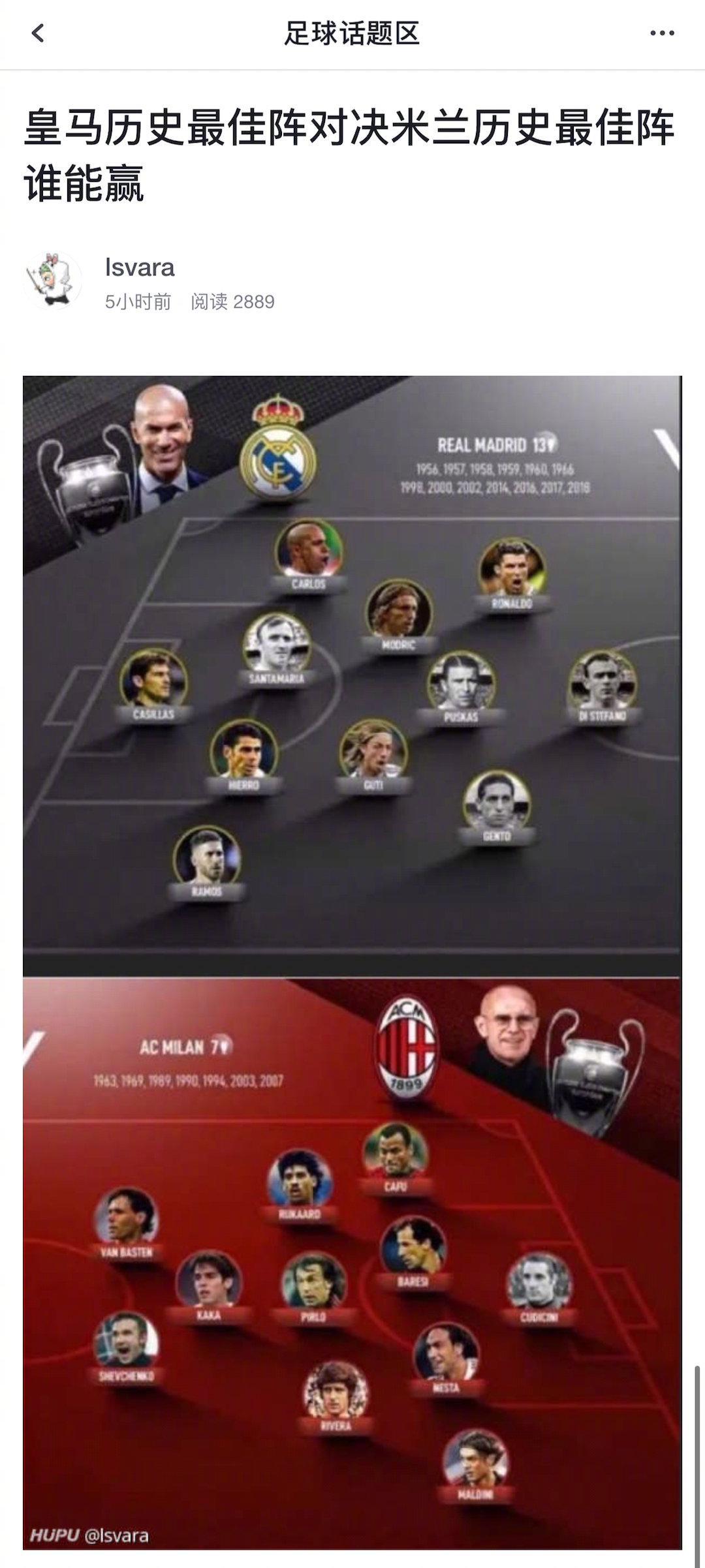 皇马和AC米兰队史最佳阵容PK,实战谁更强?