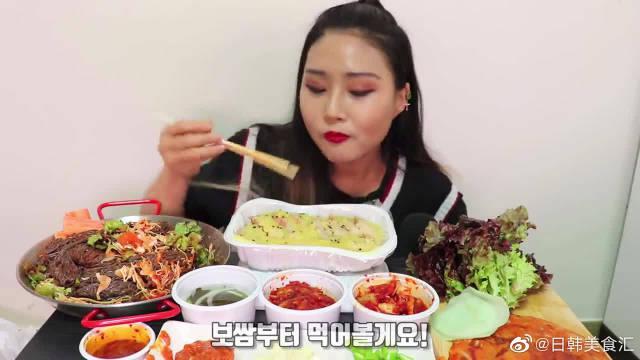 韩国网红姐吃拌冷面配青菜包肉,大口吃的超香看的我都流口水了!