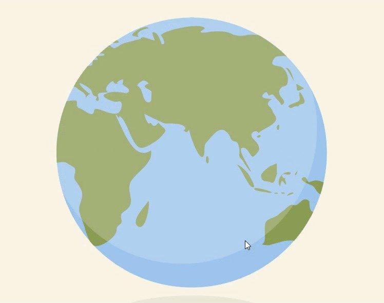 HTML5 SVG 世界地图旋转动画