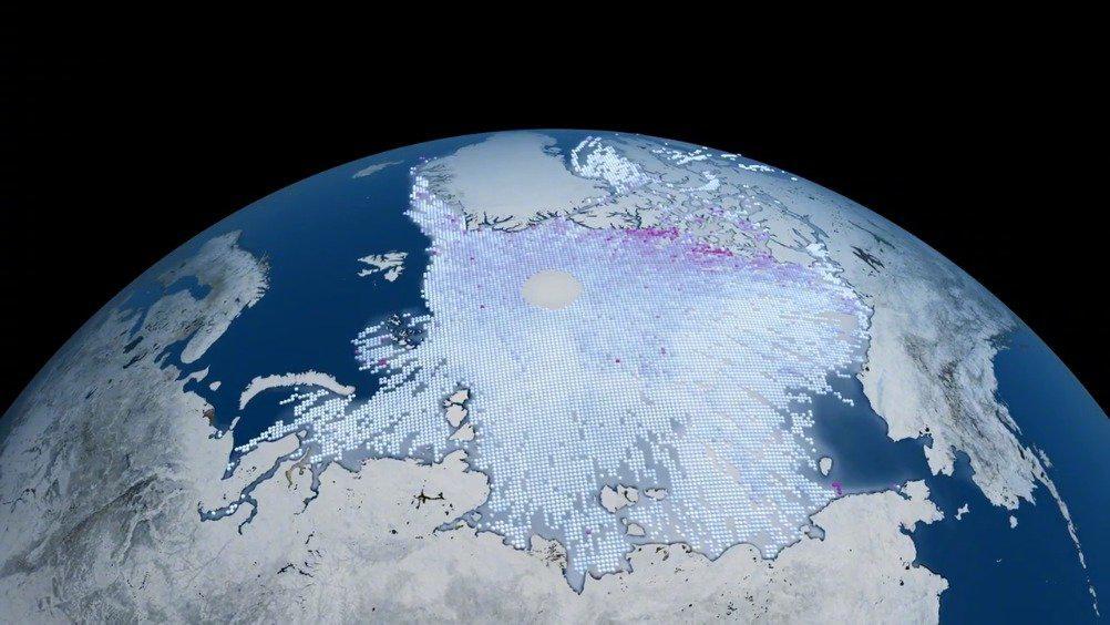 北冰洋海冰的覆盖面积比较容易测量……