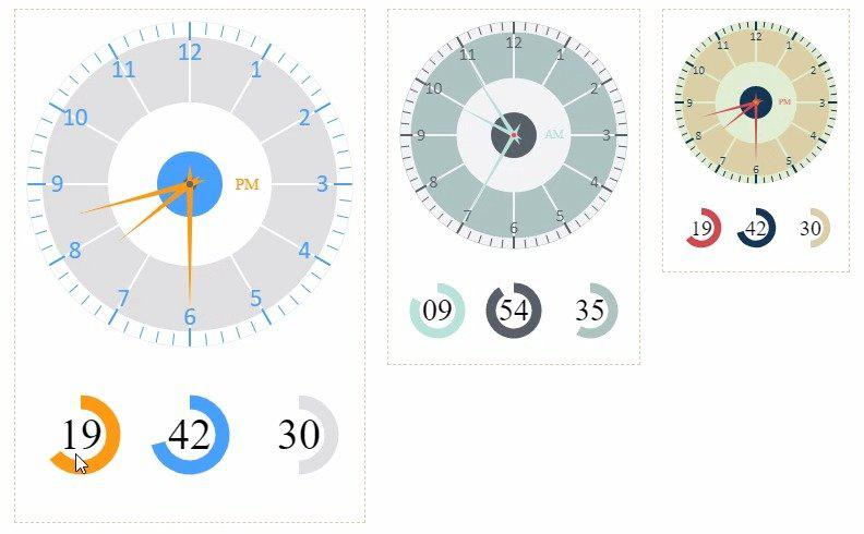 HTML5 Canvas 3种不同风格的圆盘时钟
