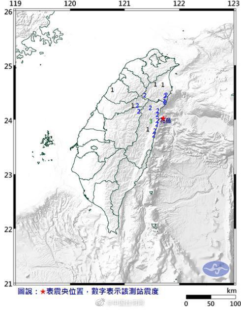 台湾花莲县近海发生4.4级地震 最大震度3级图片