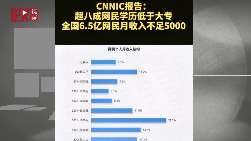 CNNIC报告:超八成网民学历低于大专……