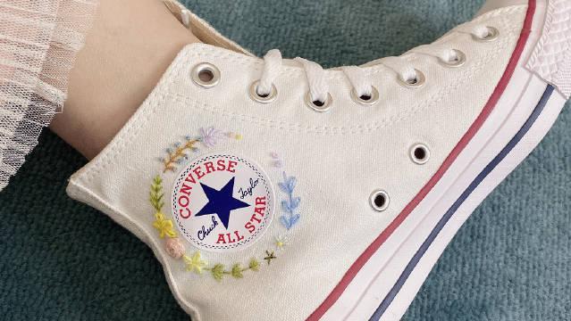 超棒的520礼物——匡威刺绣帆布鞋!