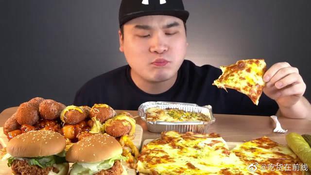 韩国大胃王胖哥,吃热狗,汉堡,芝士披萨,薯条,吃得太过瘾了