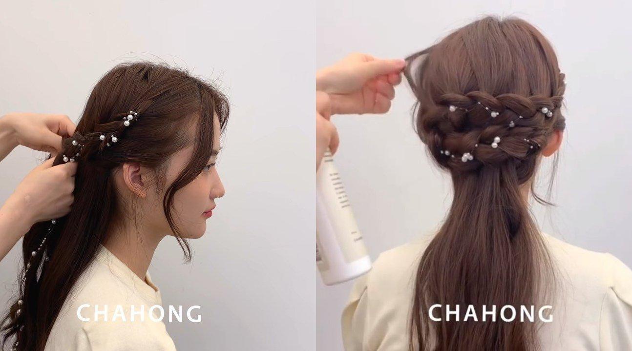 「仙气满满的公主头编发 」 配合珍珠发饰完成,超仙气~CR.chah