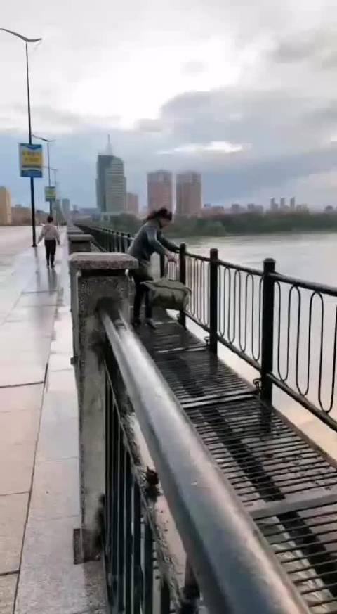 今日下午,一女子在龙潭大桥上要跳江,路过的群众报了警……