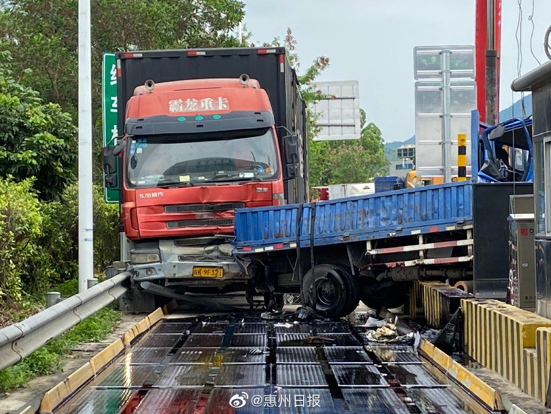 惠州仲恺一高速收费站惊现五车连环追尾