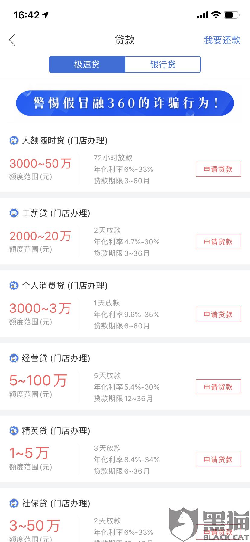 黑猫投诉:融360极速贷门店骗钱