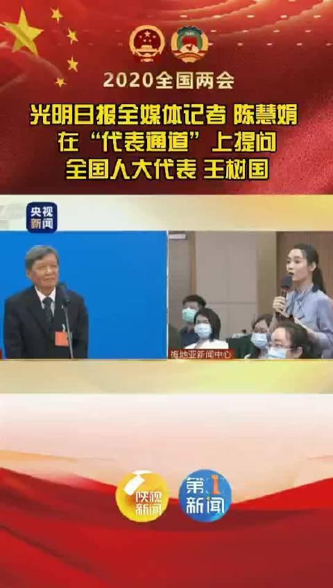 提问在陕全国人大代表王树国的光明日报记者接受陕视新闻采访