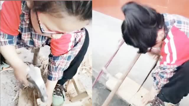 6岁女童砍柴锯木自制板凳走红网络 爸爸:从小就喜欢模仿大人干活
