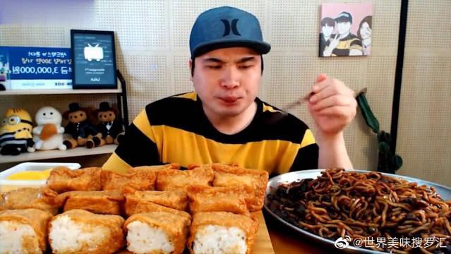 大胃王美食吃播,韩国小哥吃炸酱面和油豆腐