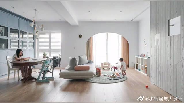 台湾小夫妻打造开放式亲子宅,在家都能玩滑滑梯……