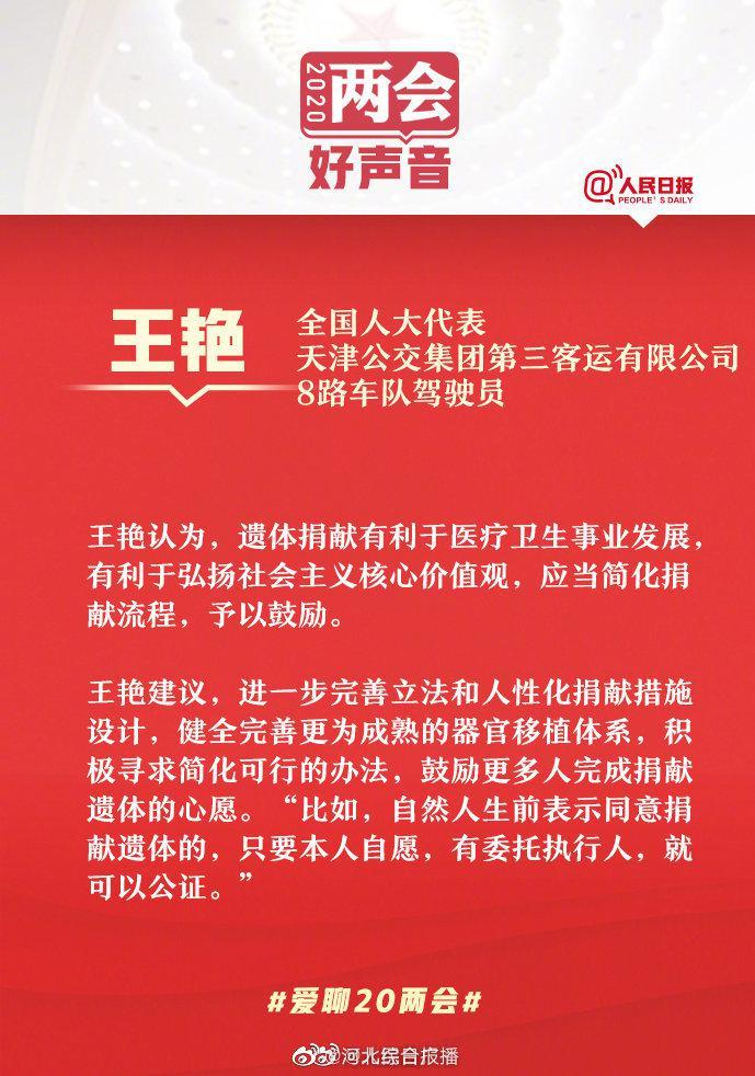 全国人大代表王艳:建议简化流程鼓励遗体捐献