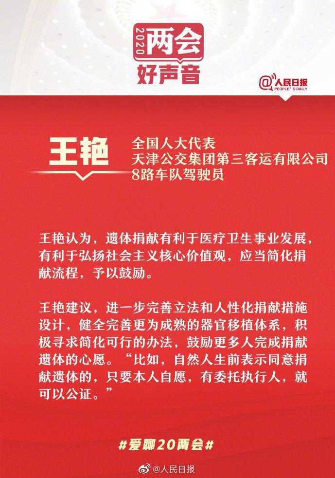 全国人大代表王艳:建议简化流程鼓励遗体捐献图片