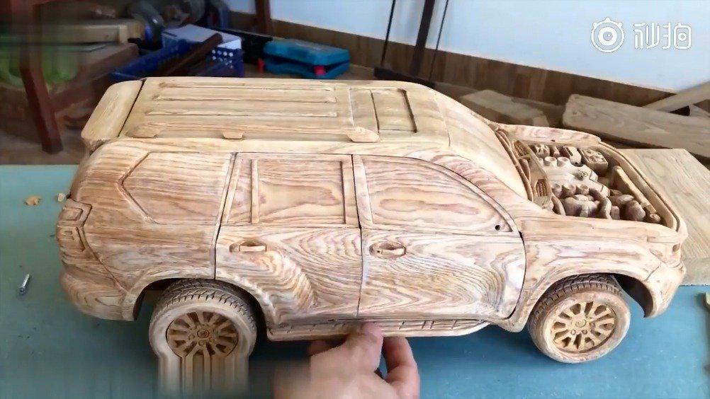 木雕越野车模型,动手能力无敌~