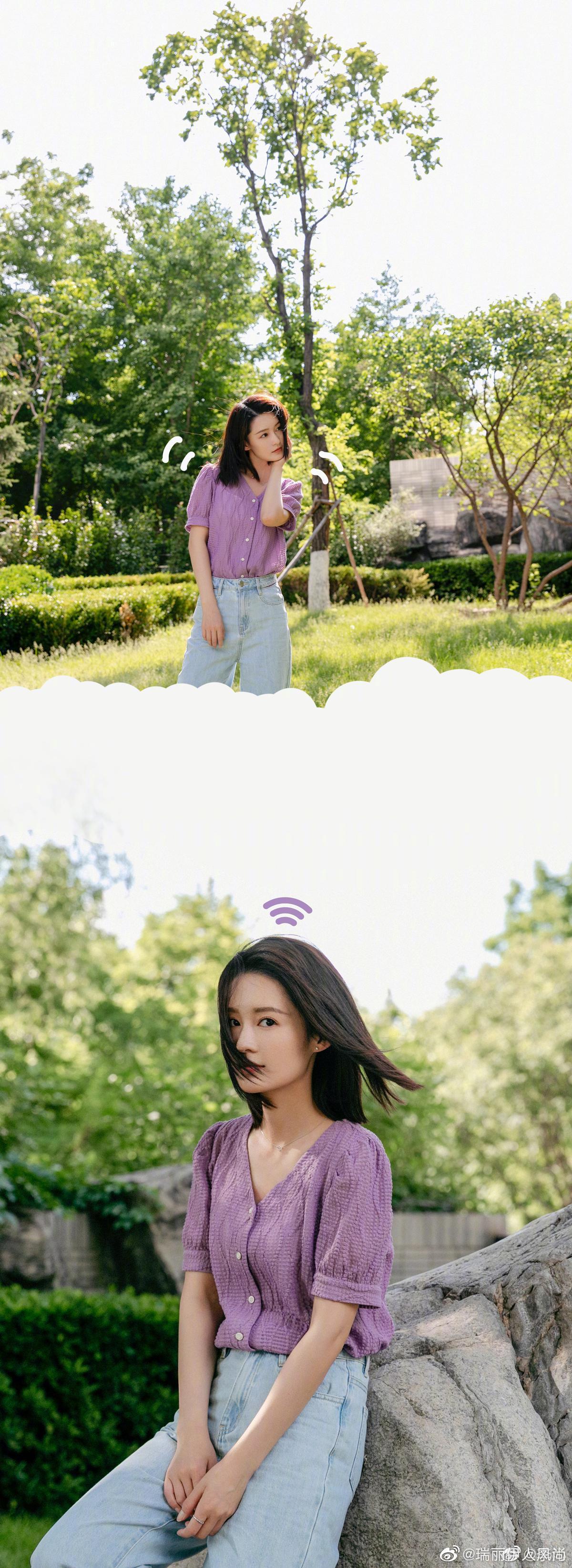 香芋紫的夏日沁@李沁 上线啦,一组阳光下的私服街拍,清新灵动