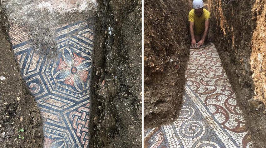 精美古罗马时期马赛克地板重见天日 曾铺设于别墅内