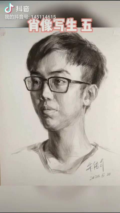 传奇哥素描肖像写生男青年素描头像加速版五来喽