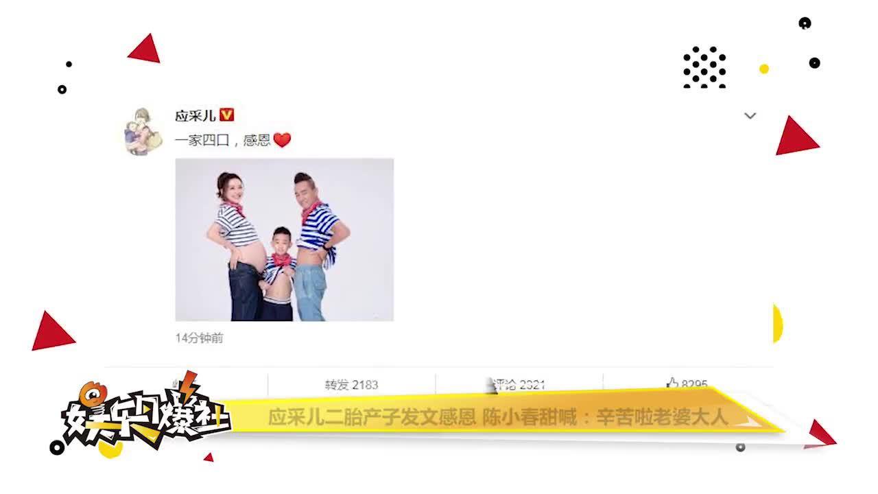 视频:应采儿二胎产子发文感恩 陈小春甜喊:辛苦啦老婆大人