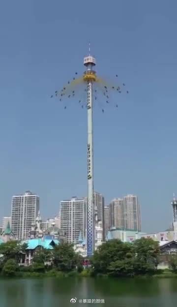 韩国Lotte World极限项目Gyro Drop特效版,简直太恐怖了