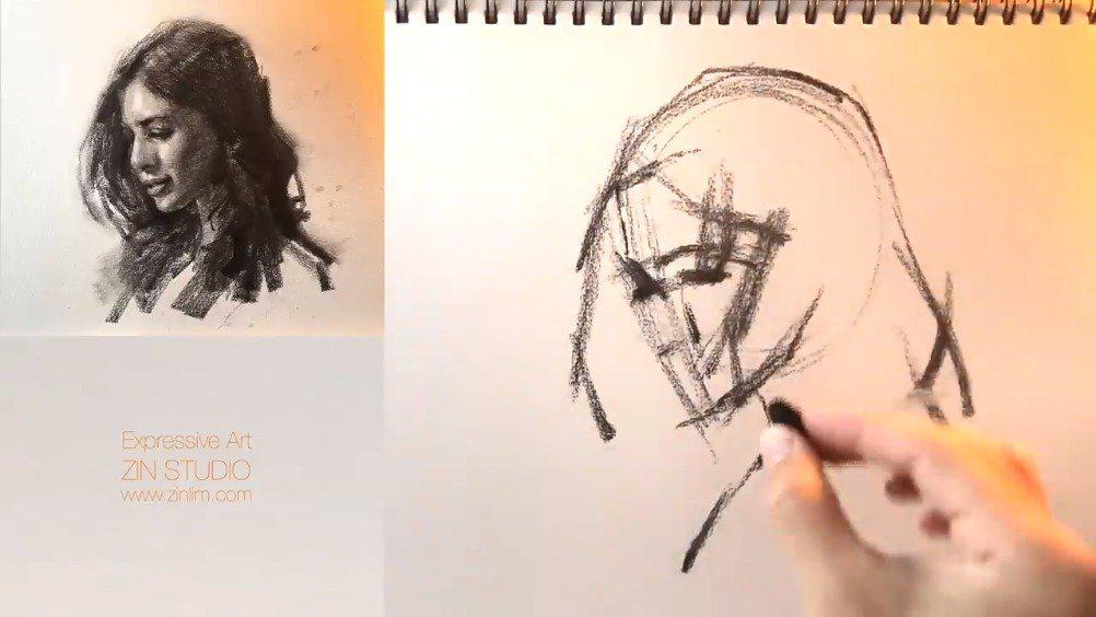 素描肖像过程