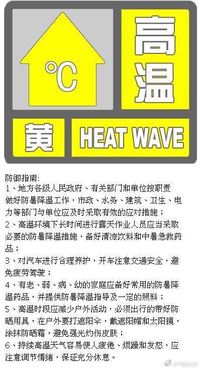 北杏悦平台京市气象台发布高温黄色预警信,杏悦平台图片