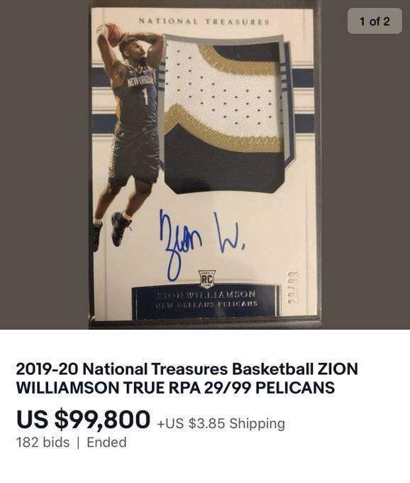 锡安球星卡近10万卖出! 只打19场NBA就这么火