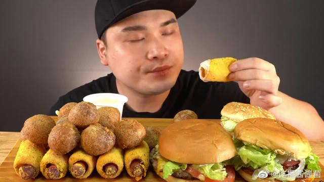 韩国大胃王胖哥,吃汉堡,芝士球,热狗,吃得真馋人