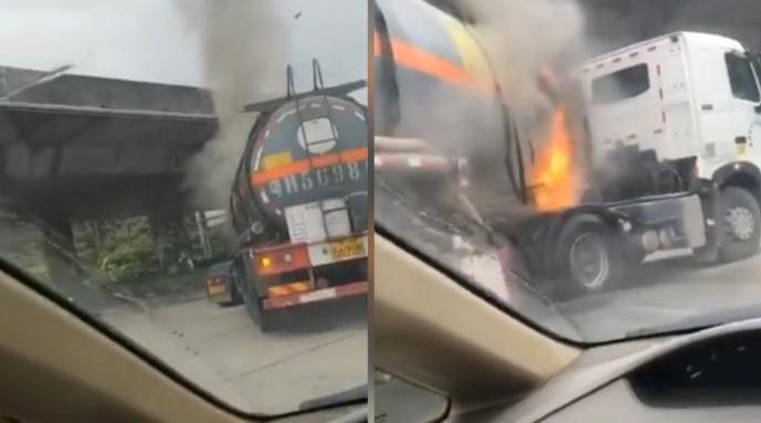 广东一槽罐车轮胎自燃起火,官方:是空罐,无人伤亡