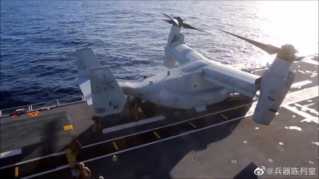 V-22倾转旋翼机在外形上与固定翼飞机相似……