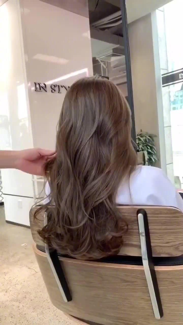 仙气飘飘的亚麻茶棕色~不用漂的显白发色