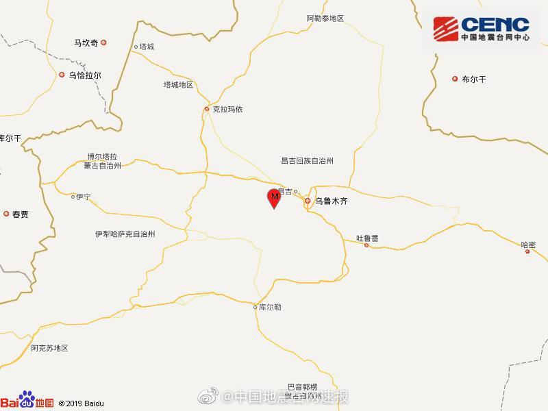 新疆昌吉州呼图壁县发生3.3级地震 震源深度25千米图片