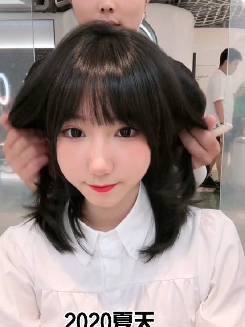 2020超显白发色搭配减龄刘海(ˊᵒ̴̶̷̤