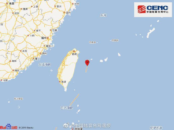 [摩天娱乐]湾花莲县海域发生4摩天娱乐1级地震震源图片
