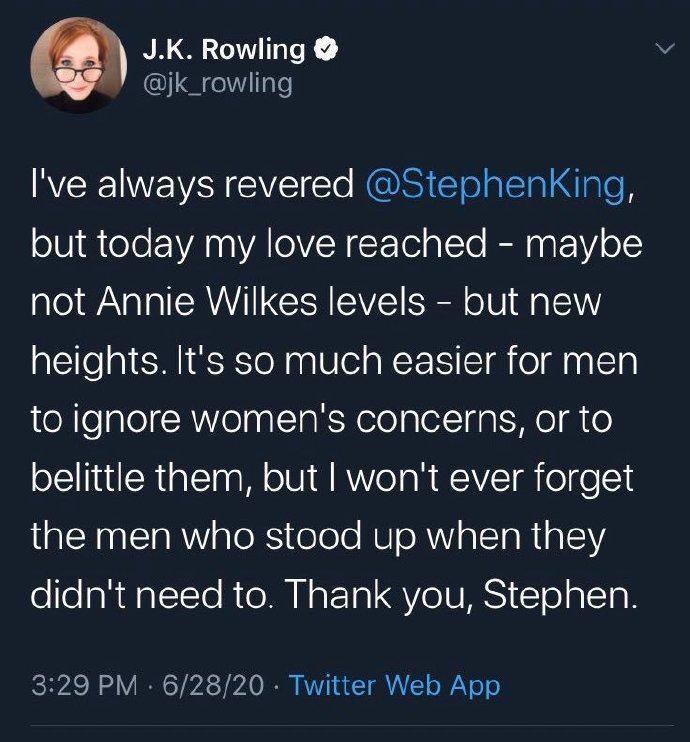 """斯蒂芬金称""""跨性别女性是女性"""" 遭JK罗琳取关"""