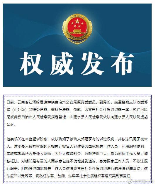 云南检察机关依法对郭建提起公诉图片