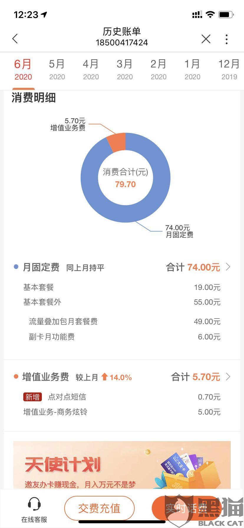 黑猫投诉:中国联通无故帮我开通5g流量包,导致资费大增