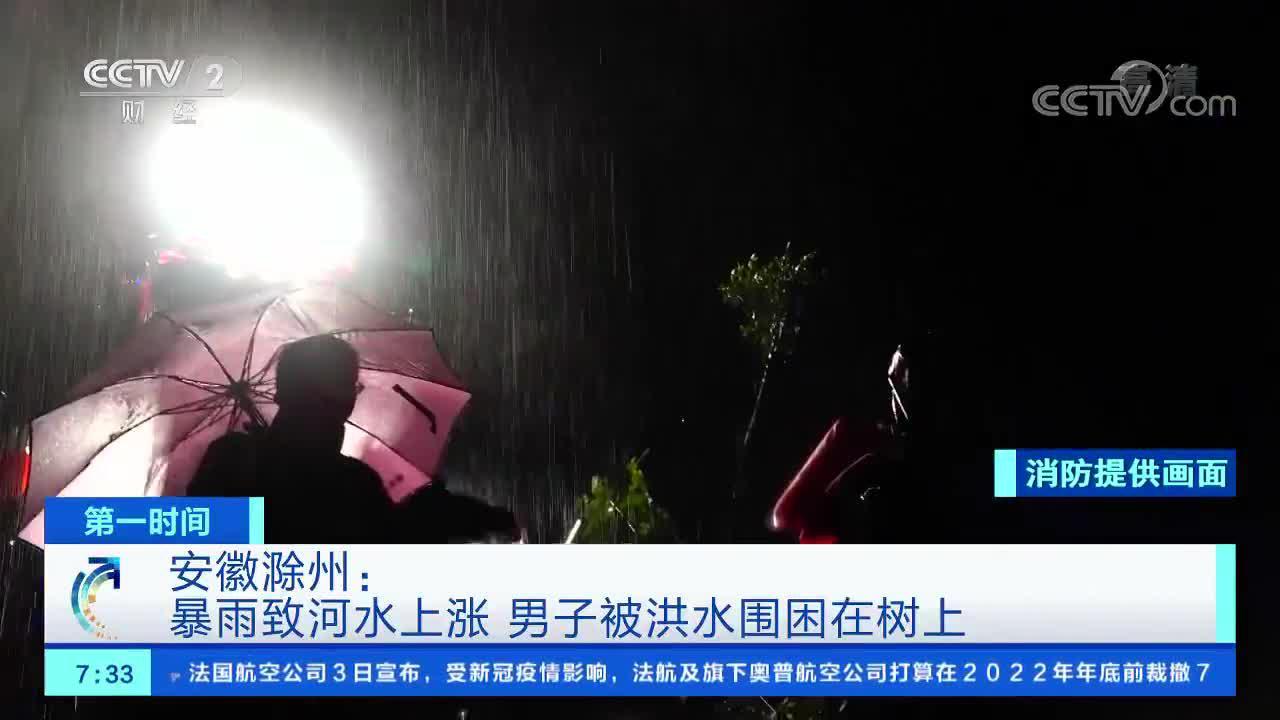 滁州:暴雨致河水上涨 男子被洪水围困在树上