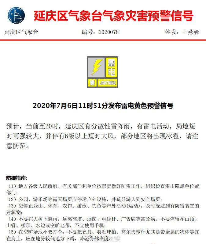 摩鑫:北京延庆发布雷电黄色预警信摩鑫号图片