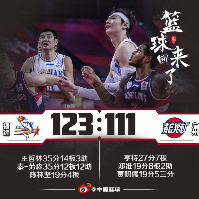 劳森35+12+12大王35+14 福建胜广